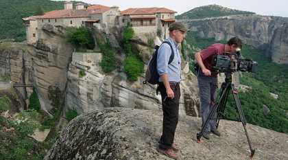 Director Derek Smith and cameraman Chris Sutcliffe at the peaks of Meteora