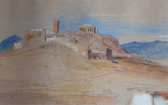 Detail from a sketch of Athens dated 5, 6 & 7 June 1848. Private collection.