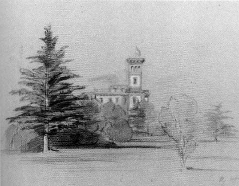 """A bad scan of """"The Queen's sketch made under Lear's tuition when Osborne was half built,"""" from P. Levi's Edward Lear."""