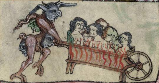 Detail of a bas-de-page scene showing a demon carrying souls to Hell in a wheelbarrow, from the 'Taymouth Hours', England (London?), second quarter of the 14th century, Yates Thompson MS 13, f. 139v.