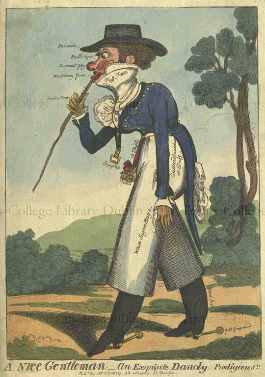 George Cruikshank,  An Exquisite Dandy - Prodigious!!! A Nice Gentleman, (12 September 1818)