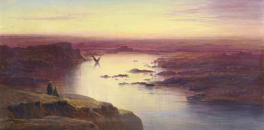 Edward Lear, Sunset on the Nile, above Aswan (1871)
