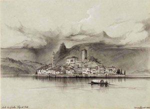 Isola San Giulio. Lago di Orta. 1842.