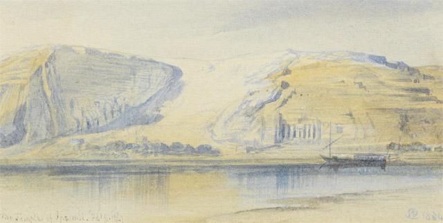 Edward Lear, View of Abu Simbel (1867)