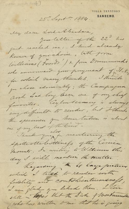 MS letter HAB 1884-09-25 1