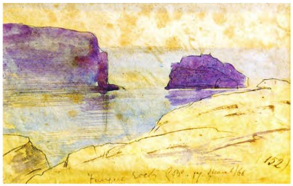 Edward Lear, Fungus Rock, Gozo. 17 March 1866 n. 152.