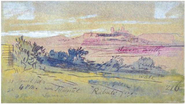 Edward Lear, Near Sannat (Rabato), Gozo. 21 March 1866, 4.00 pm n. 216.