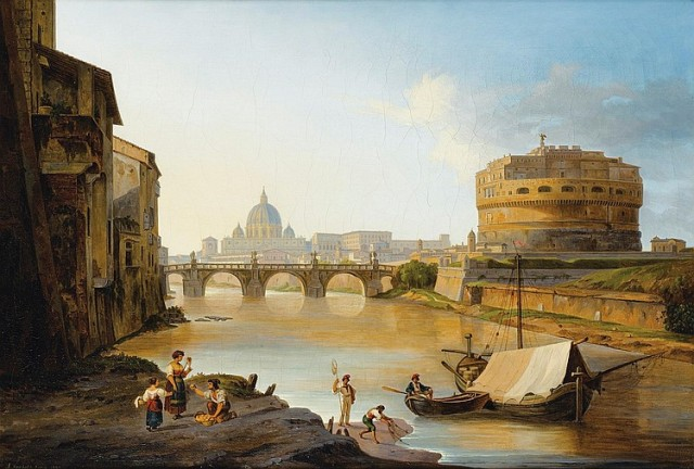 John Newbott, Vue du Tibre et du château Saint Ange